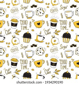 seamless pattern of coffee icons with doodle style
