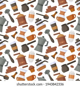 Seamless pattern with coffee making elements, sweets and different type of coffee. Design for print, packaging, wallpaper, textil. Vector illustration.