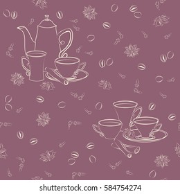 Seamless pattern with coffee pot, cups, cinnamon, coffee beans, anise and cloves. Vector seamless pattern with coffee pot, cups and Oriental spices.