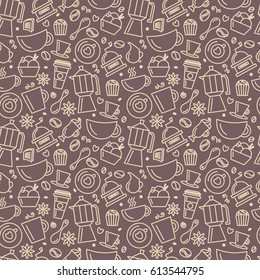 Seamless pattern for coffee theme. Line art draw icons.Vector illustration