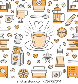 Seamless pattern of coffee, vector background. Cute beverages, hot drinks flat line icons - coffeemaker machine, beans, cup, grinder. Repeated texture for cafe menu, shop wrapping paper.