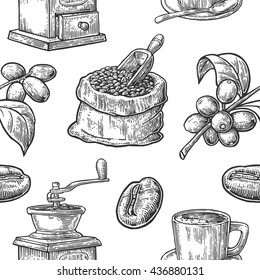 Seamless pattern with coffee. Vintage black vector hand drawn engraving illustration. Isolated on white background.