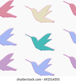 Seamless pattern with Colibri birds baby colors