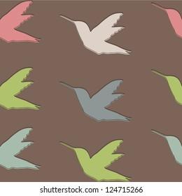 Seamless pattern with Colibri birds , Hummingbird