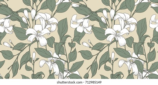 Seamless pattern, collage arrangment hand drawn Orange Jessamine flowers with leaves on yellow background