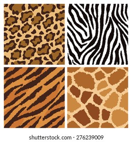 Seamless pattern collection of animal fur textures.