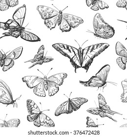 Seamless pattern a collection of butterflies. Hand drawn