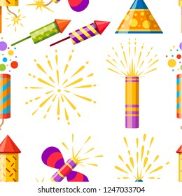 Seamless pattern. Collection of firecracker. Pyrotechnic colorful icon set. Firework for New Year celebration. Flat vector illustration on white background.