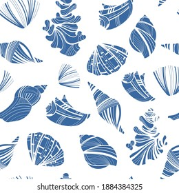 Seamless pattern with collection seashells. Graphic background with shellfish and sea shells. Nautical texture. Print with a beach theme. Design element with marine life.