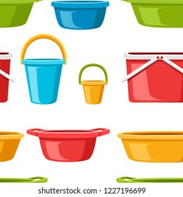 Seamless pattern. Collection of water containers. Water buckets and basins. plastic products mass market. Flat vector illustration on white background.