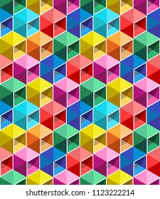 Seamless pattern from color boxes. Volume a box with a shadow. A puzzle from cubes.