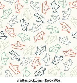 Seamless pattern with color paper boats. Vector illustration