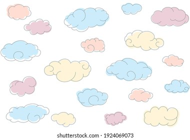 Seamless pattern with color simple doodle clouds.