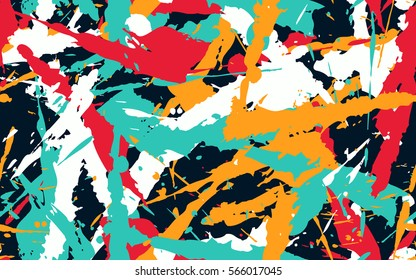 Seamless pattern from color splashes and smudges. Fashion camouflage.