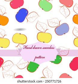 Seamless pattern of colored apples, label on a  white  background. Hand drawn.