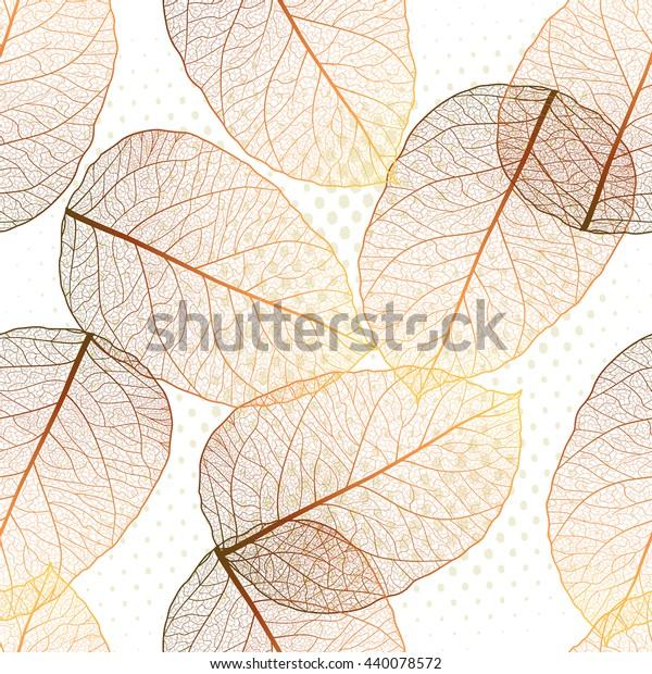 Nahtloses Muster mit farbigen Herbstblättern. Vektorgrafik, EPS10.