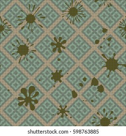 Seamless pattern. Colored blots on a plaid background. Grungy textiles. Children's camouflage. Dirty tablecloth. Flat. Cartoon.