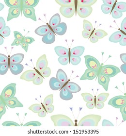 Seamless pattern with colored butterflies on white background
