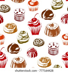 Seamless pattern with colored cakes. Endless texture for your design, announcements, postcards, posters, restaurant menu. Vector illustration
