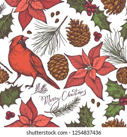 Seamless pattern with colored cardinal, cones, lettering, poinsettia, holly, pine branch, spruce