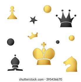 Seamless pattern of colored chess pieces on a white background. EPS 10
