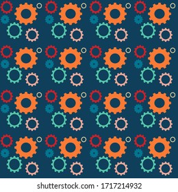 Seamless pattern with colored cog wheel . For textile products and wallpapers.