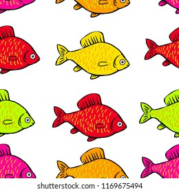 seamless pattern  colored fish on a white background