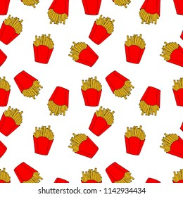 Seamless pattern of colored french fries in cartoon style. Hand drawn illustration for menu design, fabric and wallpaper
