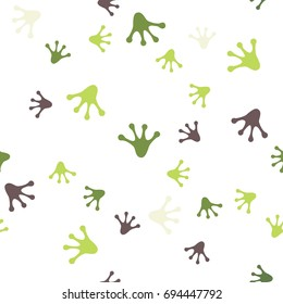 The seamless pattern with colored frog's footprints.