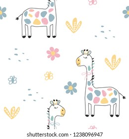 Seamless pattern with colored giraffes, flowers and butterflies. Vector illustration for printing on banners, postcards, clothes, bed linen, packaging paper. Cute picture on a children's theme.