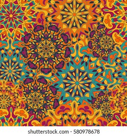 Seamless pattern with colored mandalas. Indian, Turkish, Gypsy texture