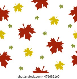 Seamless pattern with colored maple leaves on a light background. Childish background for postcards, wallpaper, papers, textiles, bed linen.