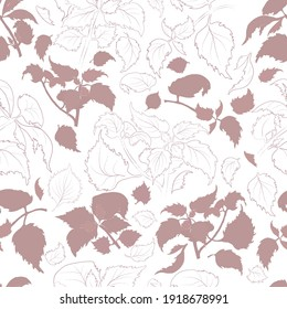 Seamless Pattern with Colored and Outlined Shiso Leaves and Twigs. Shisol branches and Leaves Isolated on White Backdrop. Ideal for Magazine, Recipe book, Poster, Card, Menu cover, any Advertising.
