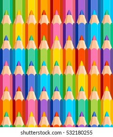 Seamless pattern of colored pencils on white background