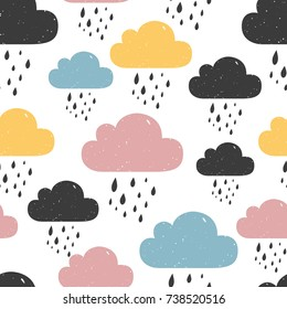 Seamless pattern with colored rainy clouds. Vector illustration