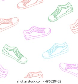 Seamless pattern of colored sneakers. Sports shoes background. Hand drawn sketch of shoes - sneakers. Hand drawing. Vector illustration.