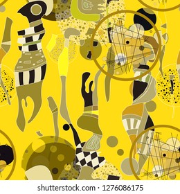 Seamless pattern with colorful abstract  art objects, womam. abstract forms, circles can be used as cool print for clothes,  Vector illustration of a style of supermatism. Creative retro poster