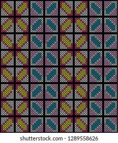 seamless pattern colorful abstract cross stitch embroidery on black background vector