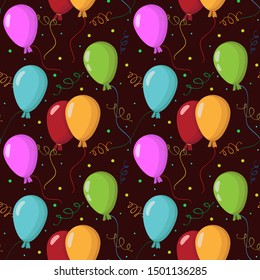 Seamless pattern with colorful balloons on dark brown background for greeting card, gift box, wallpaper, fabric, web design.