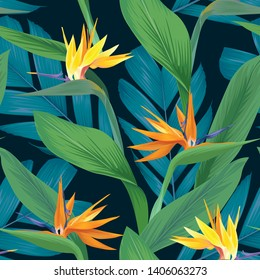 Seamless pattern of colorful bird of paradise flowers and tropical leaf background. Vector set of exotic tropical garden for holiday invitations, greeting card and fashion design.