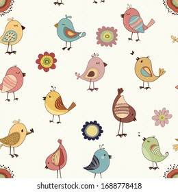 Seamless pattern of colorful birds in Childish hand-drawn illustration in cartoon style