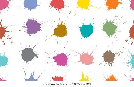 Seamless pattern of colorful blots, splats. Paint splash. Vector illustration.