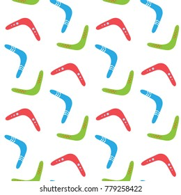 Seamless pattern with colorful boomerangs on white background