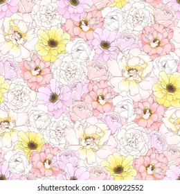 Seamless pattern with colorful buds flowers Roses, vector illustration in rustic style and pastel colors.