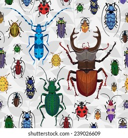 Seamless pattern with colorful bugs. Bright vector drawing of small beetles. Insect on the background with gray leaves. Cartoon bug wallpaper.