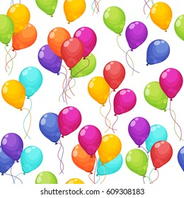 Seamless pattern with colorful bunches of birthday balloons flying for party and celebration. Balloons set in modern flat style. Vector illustration