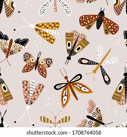 Seamless pattern with colorful butterflies and mothes in retro colors. Creative for fabric, wrapping, textile, wallpaper, apparel. Vector illustration