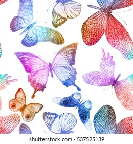 Seamless pattern with colorful butterflies. Vector abstract illustration