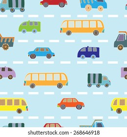 Seamless pattern with colorful cars.