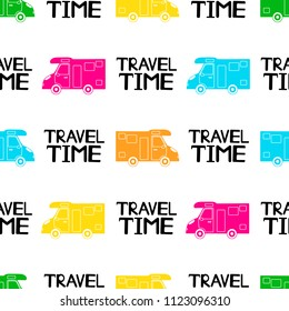 Seamless pattern with colorful cars and black phrases Travel time on the white background. Vector illustration